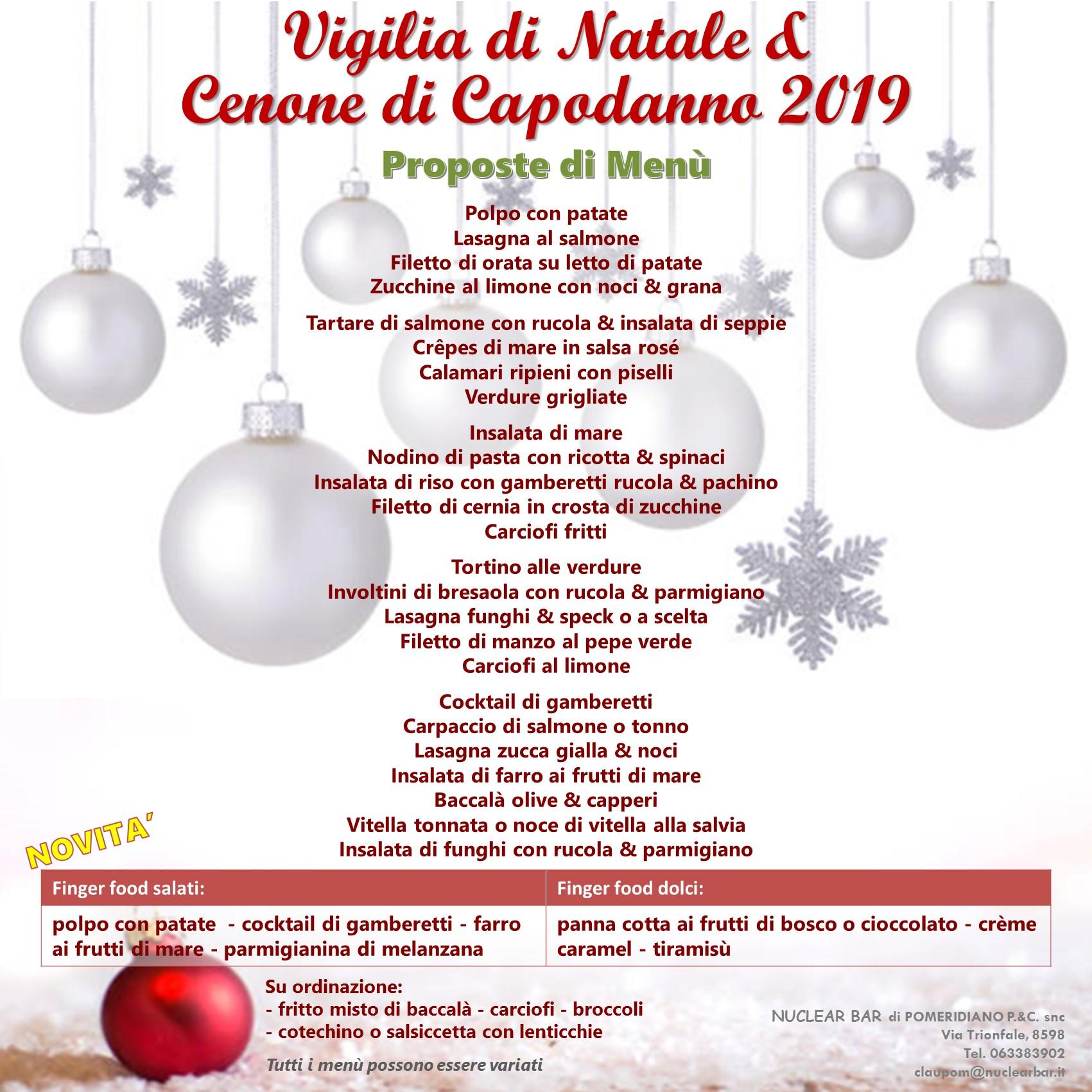 Menu Vigilia Di Natale 2019.Menu Per La Vigilia Di Natale E Capodanno Nuclear Bar
